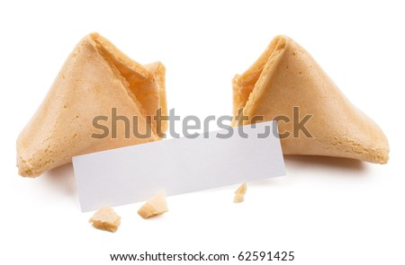 Broken fortune cookie with blank slip isolated on white background. - stock photo