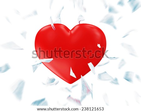 Broken Frozen Red Heart with Motion Blur isolated on white background. St Valentine's Day and Love Concept - stock photo