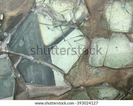 Broken glass abstract structure - stock photo