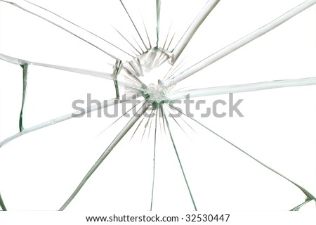Broken glass background for your images isolated on white with clipping path - stock photo