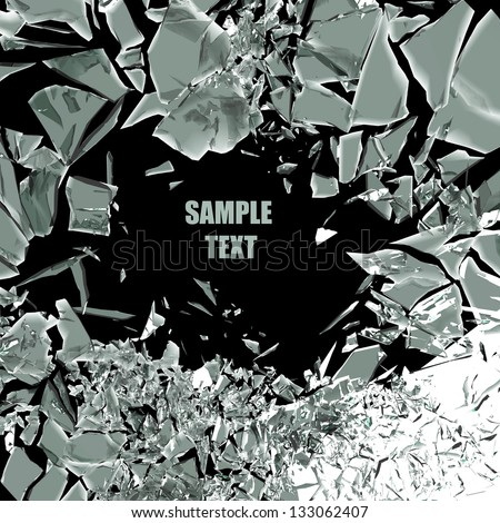 broken glass background isolated on black. High resolution 3d render - stock photo