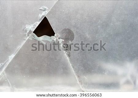 broken glass, closeup  - stock photo