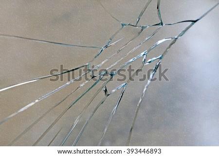 broken glass, closeup of photo - stock photo