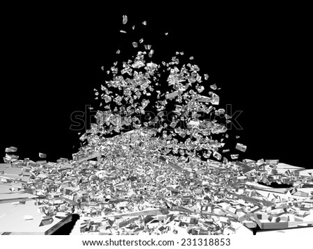 Broken Glass into Pieces isolated on black background - stock photo
