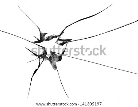 broken glass, macro photo on white - stock photo