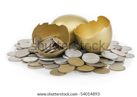 Broken gold egg and old money,on white background. - stock photo