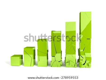 Broken graph isolated on the white background. Render image. - stock photo