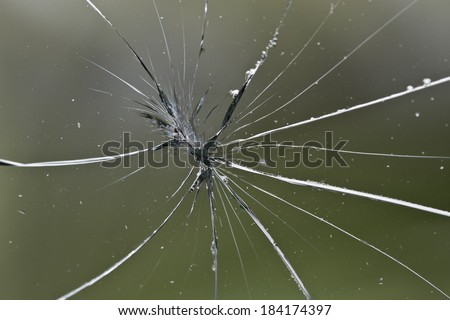 broken green glass - stock photo