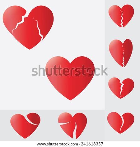 broken heart,Heart splitting and breaking apart ,love - stock photo