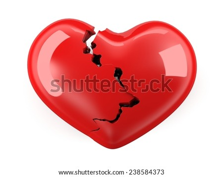Broken heart. Isolated on white background. - stock photo