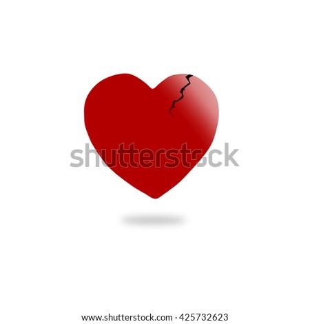 broken heart on white background. - stock photo