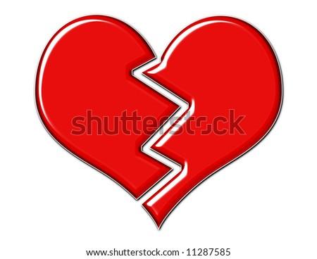 Broken heart - red, shiny and cracked - stock photo
