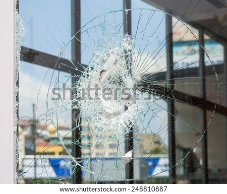 broken house window glass - stock photo