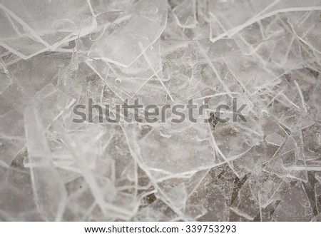Broken ice on river - stock photo