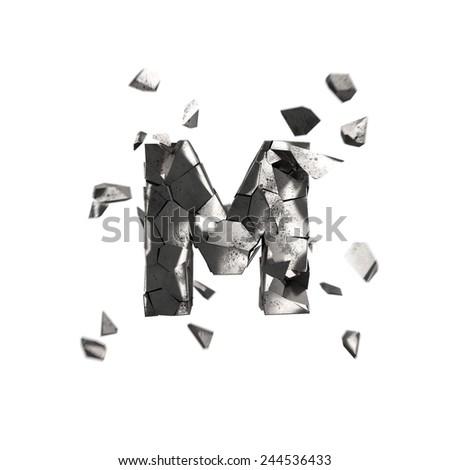 broken iron alphabet M - stock photo