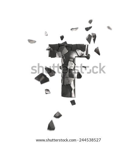 broken iron letter T - stock photo
