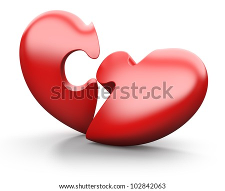 Broken jigsaw heart, isolated on white - stock photo