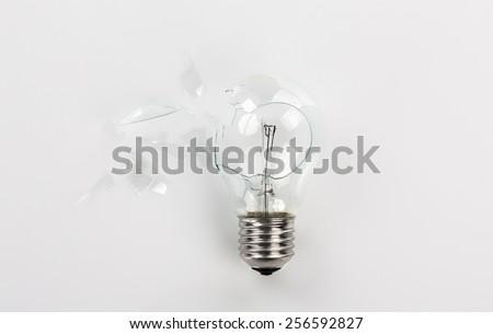 Broken light bulb - stock photo