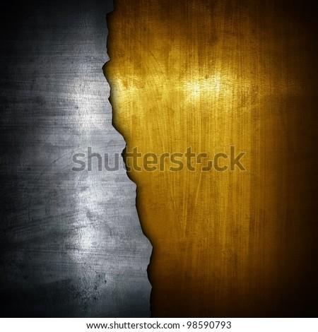 broken metal plate - stock photo