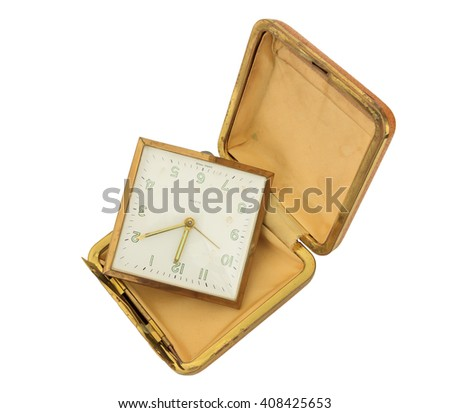 Broken Old Travel Clock isolated on white with clipping path - stock photo