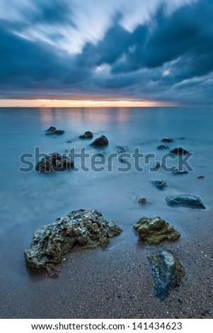 Broken palm tree on a sandy beach - stock photo