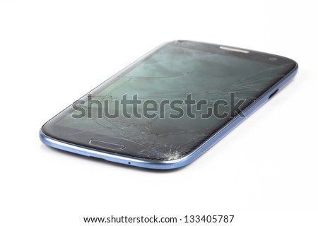 broken phone on white background - stock photo