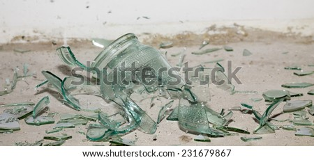 broken pieces of glass - stock photo