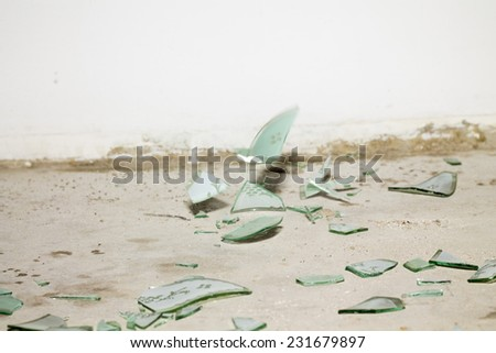 broken pieces of glass - stock photo
