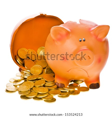 broken piggy bank and money poured isolated on white background - stock photo