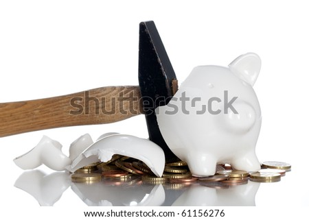 Broken Piggy Bank on a white background - stock photo