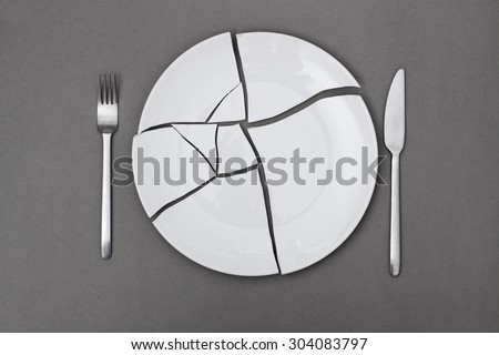 broken plate - diet - stock photo