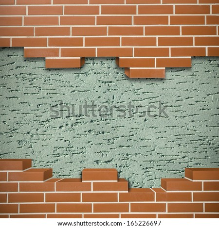Broken red brickwall with green mortar wall in the background - stock photo