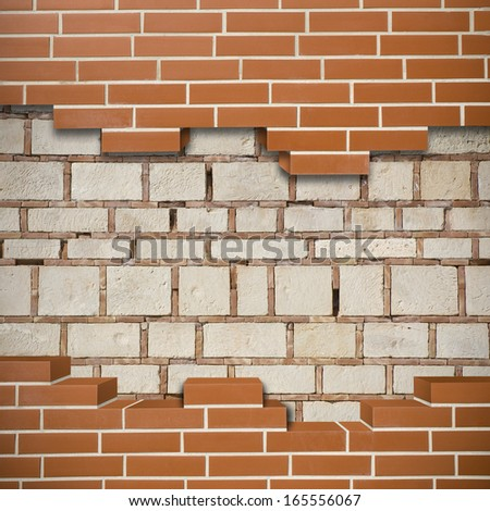 Broken red brickwall with grunge wall in the background - stock photo