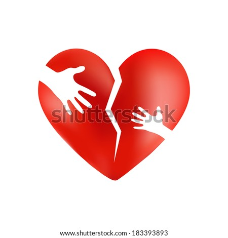 Broken red heart with hands of adult and child on it, isolated on white background - stock photo