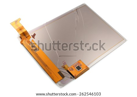 Broken screen of electronic pocket book on white background - stock photo