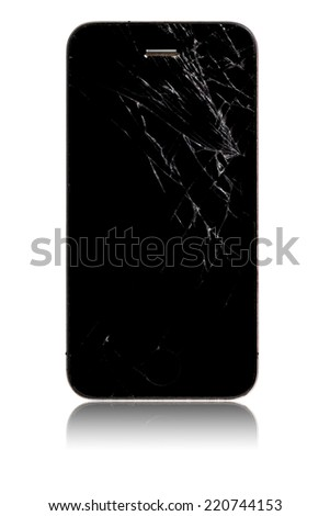 Broken screen smartphone isolated on white background - stock photo