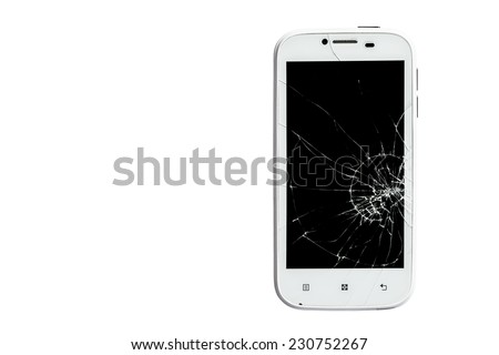 Broken smart phone isolated on white background with clipping path - stock photo