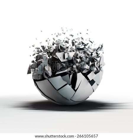 broken sphere standing on reflective floor with a lot of fracture elements that flow outward from it - stock photo