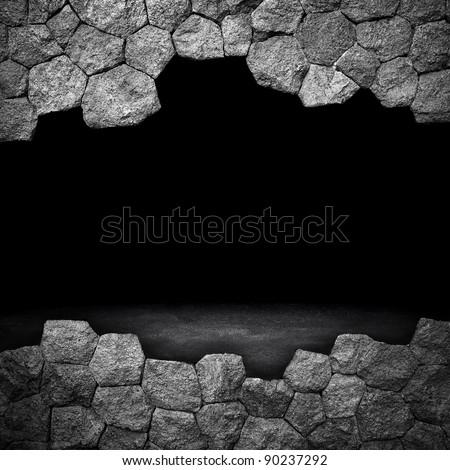 broken stone wall - stock photo
