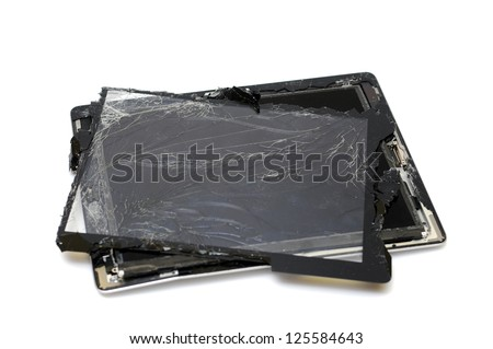 broken tablet on a white background - stock photo