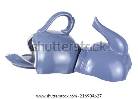 Broken Teapot on White Background - stock photo