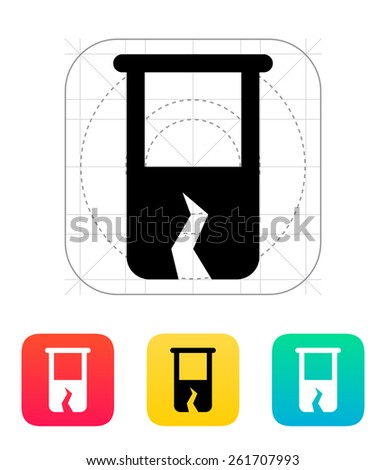 Broken test tube icon on white background. - stock photo