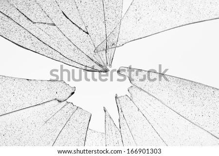 broken transparent glass - stock photo