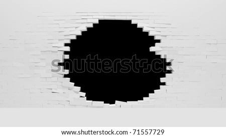 Broken White Brick Wall - stock photo