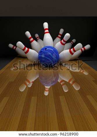 Broken white skittles in bowling - stock photo