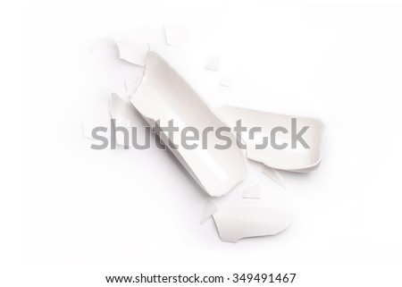 Broken white vase isolated in white - stock photo