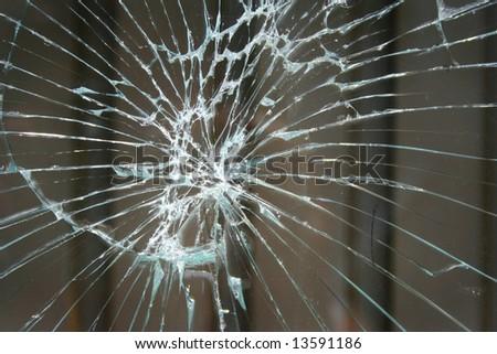 Broken window, background of cracked glass - stock photo
