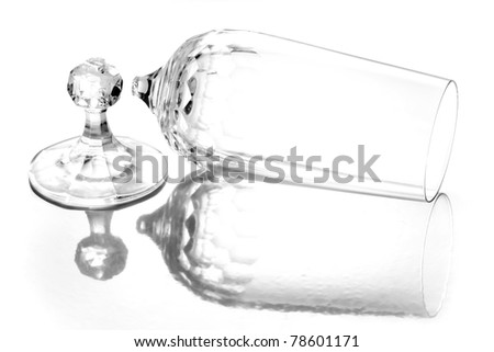 broken wine glass - damaged glass - stock photo
