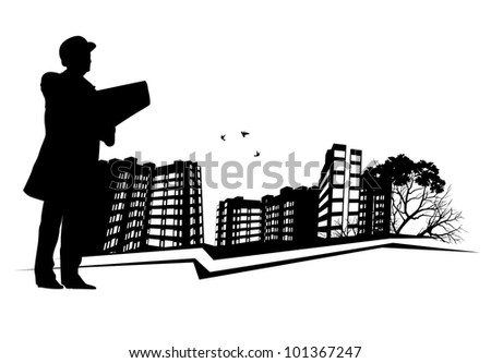 Broker inspects Real Estate - stock photo