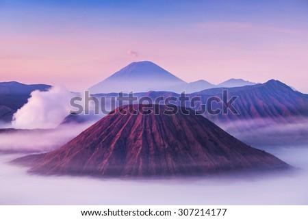 Bromo, Batok and Semeru volcanoes at sunrise, Java island, Indonesia - stock photo